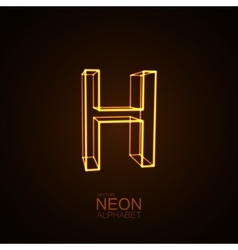 Neon 3d letter h vector