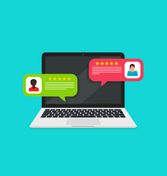 online bubble chat with review and feedback vector image