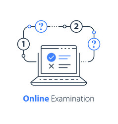Online exam pass test checklist on monitor vector