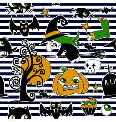 Pattern of halloween element patches pumpkin vector