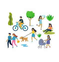 People in urban park outdoor activities vector
