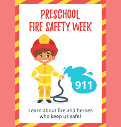 preschool fire safety week poster vector image