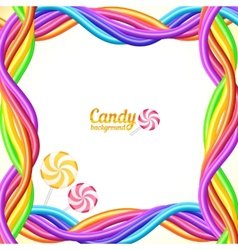 Rainbow colors candy ropes background vector
