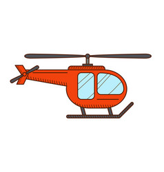 red helicopter isolated vector image