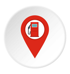Red map pin with gas station sign icon circle vector