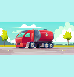 red truck with gasoline in tank vector image