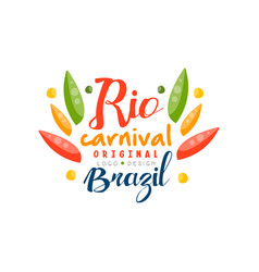 Rio carnival original logo design brazil festive vector