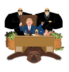 russian oligarch sits at table and drinks whiskey vector image