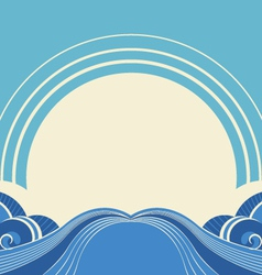 Sea waves and sunabstract nature image vector