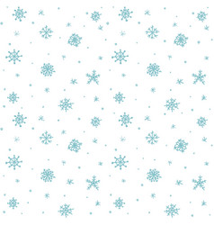 Seamless pattern hand drawn white snow flakes on vector