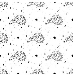seamless pattern mystical raven with moon vector image