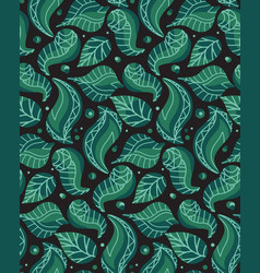 seamless pattern with doodle leaves and vector image