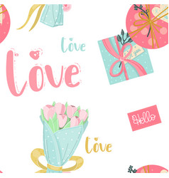 seamless pattern with presents gifts flowers vector image