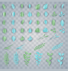 set color paper leaves for decoration vector image