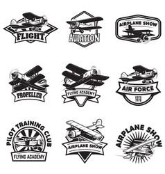 Set flying academy emblems vintage airplanes vector