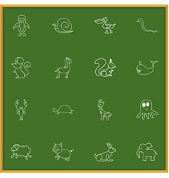 set of 16 editable animal doodles includes vector image