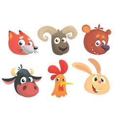 set of cartoon forest animals head vector image