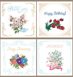 Set of floral cards for any occasion vector