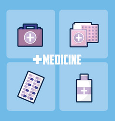 Set of medicine and drugs vector