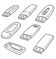 set usb flash drive vector image