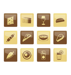 shop food and drink icons over brown background 2 vector image