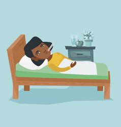 sick african woman with thermometer laying in bed vector image