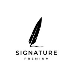 Signature feather quill logo icon vector