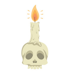 Skull head halloween with candle vector