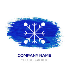 snow flake icon - blue watercolor background vector image