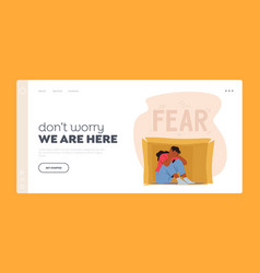 Social anxiety fear landing page template lonely vector