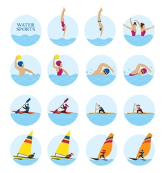 Sports athletes water icons set vector