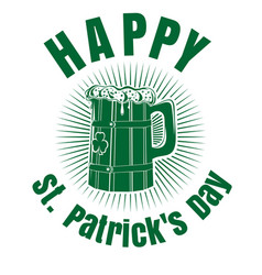 st patricks day design with beer mug vector image