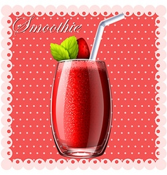 Strawberry smoothie in glass vector