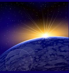 Sunrise dawn space planet warm shine vector