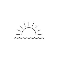 Sunrise or sunset over sea linear minimal vector