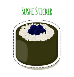 Sushi sticker asian food with caviar rice- label vector