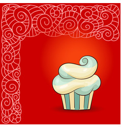 sweet waved cupcake with cream vector image