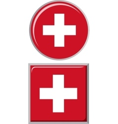 Swiss round and square icon flag vector