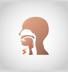Swollen lymph nodes in neck icon design vector
