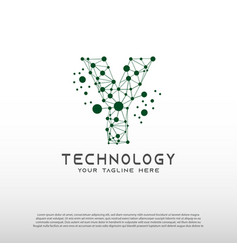 Technology logo with initial y letter network vector