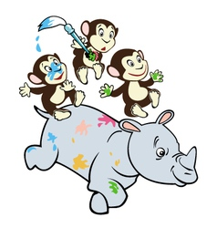 three little monkeys and rhino vector image