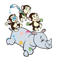 Three little monkeys and rhino vector