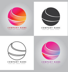 Three part of modern colorful circle vector