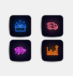 truck delivery present box and airplane icons vector image