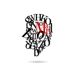 Typography man silhouette vector image