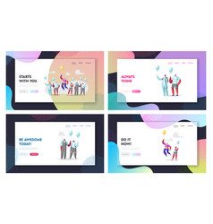 Unique landing page template set male character vector