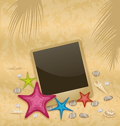 Vintage background with photo frame starfishes vector image