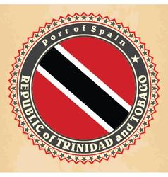 Vintage label cards of Trinidad and Tobago flag vector image