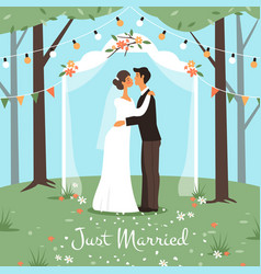 wedding marriage ceremony bride and groom get vector image