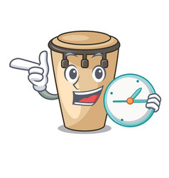 With clock conga character cartoon style vector